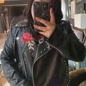 NWT Embroidered Studded Faux Leather Moto Jacket